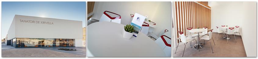 Zona exterior y mesas de la cafetería del Tanatorio de Xirivella | Funeraria Aleixandre